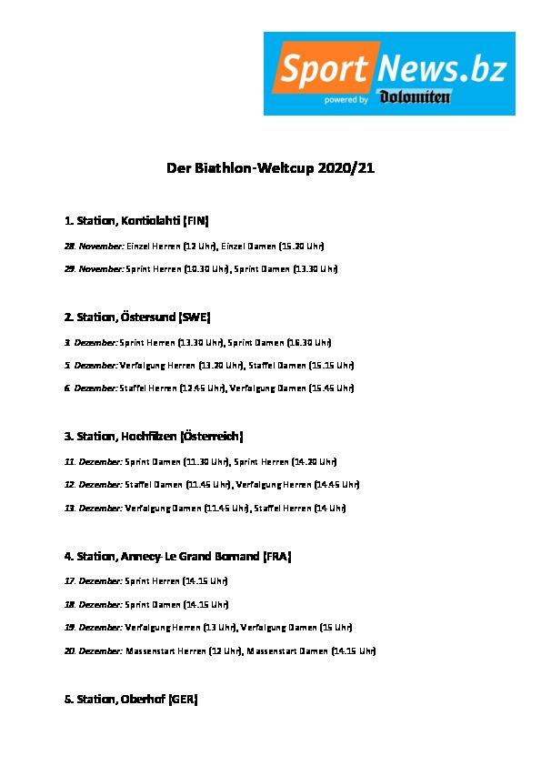 Terminplan Biathlon